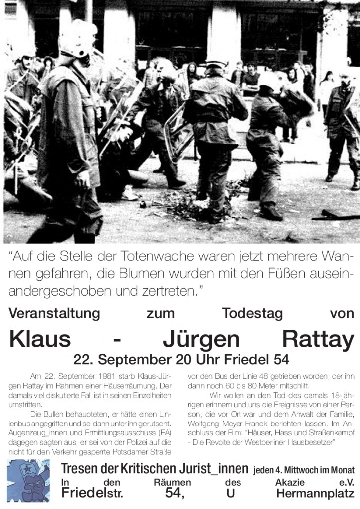 Veranstaltung zum Todestag von Klaus-Jürgen Rattay am 22. September 2010